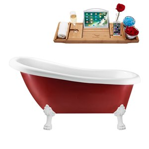 Streamline Freestanding Tub with Tray and Internal Drain - 61-in - Red