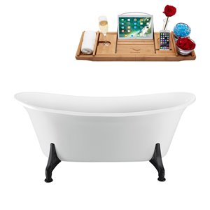 Streamline Clawfoot Oval Bathtub and Tray with Internal Drain - 59-in - White