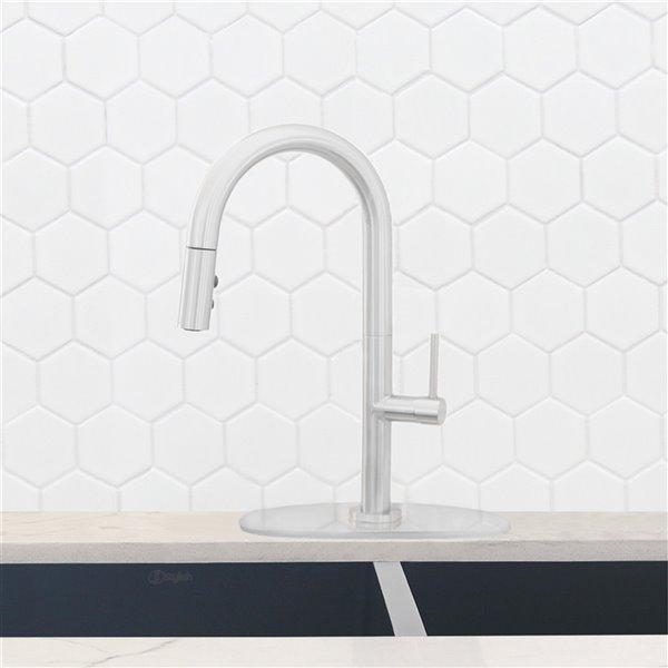 Plaque de robinet de cuisine monotrou Stylish, chrome poli