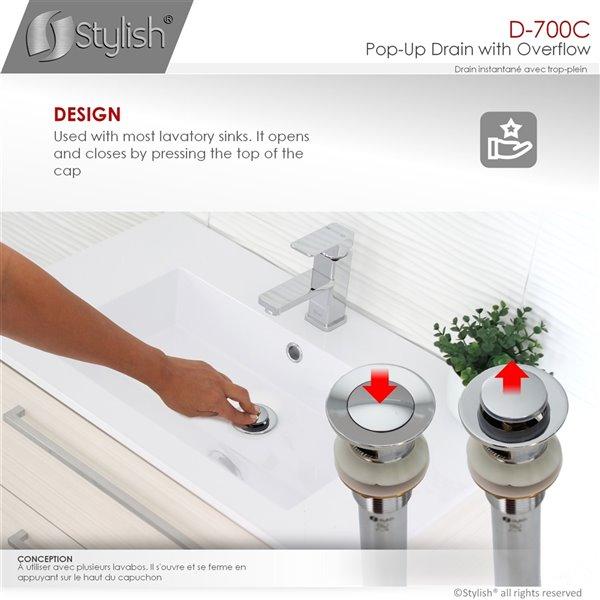 Bonde de vidage pour meuble-lavabo avec trop-plein Stylish, chrome