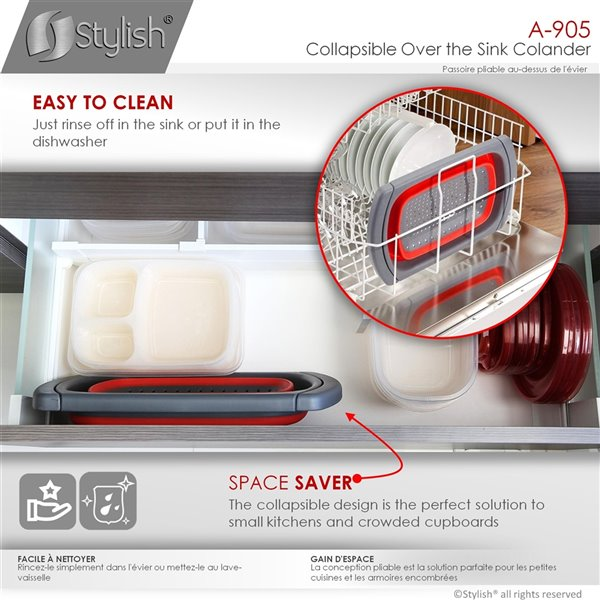 Stylish Plastic Over the Sink Collapsible Colander