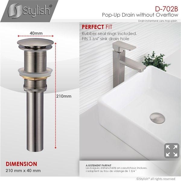Bonde de vidage pour salle de bains sans trop-plein Stylish, nickel brossé