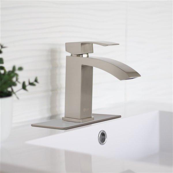 Plaque de robinet de salle de bain monotrou Stylish, nickel brossé