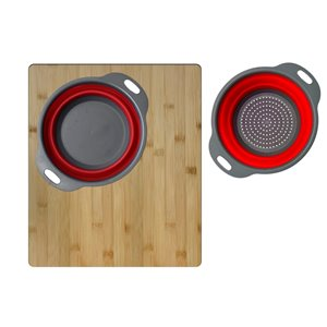 Stylish Bamboo Over the Sink Cutting Board with Collapsible Bowl and Colander - 18-in x 15.75-in