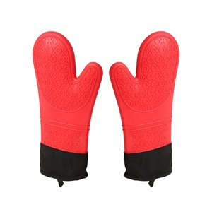 Stylish Heat Resistant Silicone Oven Mitt - Red