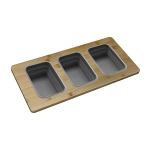 Stylish Bamboo Over the Sink Divided Serving Board with 3 Collapsible Containers - 16.75-in x 8.5-in