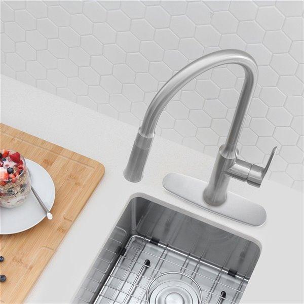 Plaque de robinet de cuisine monotrou Stylish, nickel brossé
