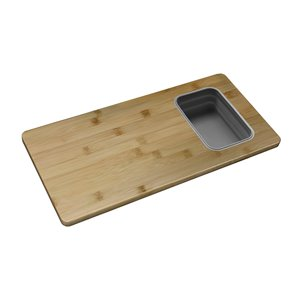 Stylish Bamboo Workstation Cutting Board with 1 Collapsible Container - 16.75-in x 8.5-in