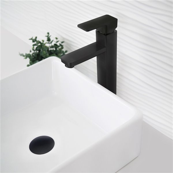 Bonde de vidage pour salle de bains avec trop-plein Stylish, noir mat