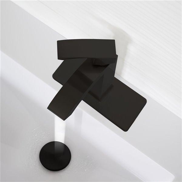 Plaque de robinet de salle de bain monotrou Stylish, noir
