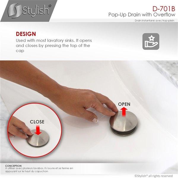 Bonde de vidage pour salle de bains avec trop-plein Stylish, nickel brossé