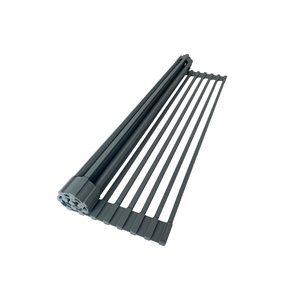 Support à vaisselle et plateau perforé en métal Stylish, 16,75 po x 13,25 po, gris foncé