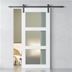 Urban Woodcraft Pecos Prefinished MDF White Barn Door with Hardware Included (Common: 40-in x83-in; Actual: 40-in x83-in)