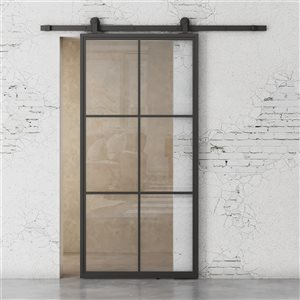 Urban Woodcraft Sydney Prefinished Steel Black Barn Door with Hardware Included (Common: 34-in x80-in; Actual: 35-in x83-in)