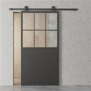 Urban Woodcraft Lille Prefinished Steel Barn Door with Hardware Included (Common: 34-in x80-in; Actual: 35-in x83-in) - Blac