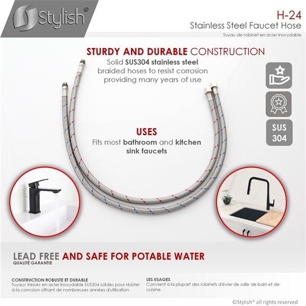 Stylish Stainless Steel Braided Faucet Hose - 24-in