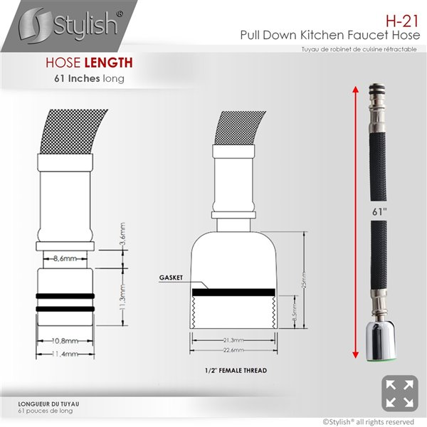 Stylish Nylon Pull Down Kitchen Faucet Hose 61 In Black H 21 Rona