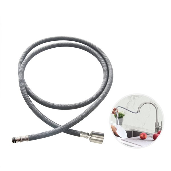 Stylish Nylon Pull Down Kitchen Faucet Hose - 61-in - Grey