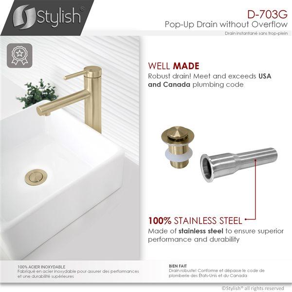 Bonde de vidage pour évier de salle de bains en acier inoxydable sans trop-plein Stylish, or brossé