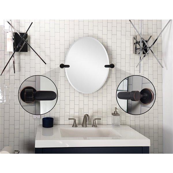 Decor Wonderland Tilton 28 In Oil Rubbed Bronze Oval Frameless Bathroom Mirror Torb2228 Rona