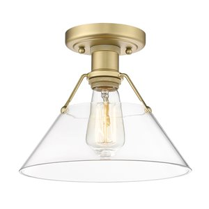 Golden Lighting Orwell 10-in Clear Glass Shade Industrial Incandescent Flush Mount Light – – 1-Pack