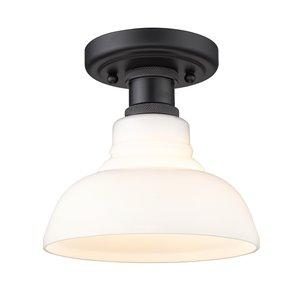 Golden Lighting Carver 7.5-in Vintage Milk Glass Industrial Incandescent Flush Mount Light – 1-Pack