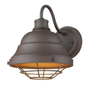 Golden Lighting Barlett 10.13-in Textured Bronze (UV) Hardwired Medium Base (E-26) Outdoor Wall Light – 1-Pack