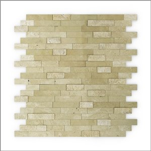 SpeedTiles 3X Faster Peel-and-Stick Beige 12-in x 12-in Multi-finish Natural Stone Marble/Travertine Linear Tile – 6-Pack