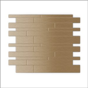 SpeedTiles 3X Faster Light Copper 9-in x 11-in Brushed Aluminum Linear Adhesive Peel-and-Stick Tile – 6-Pack