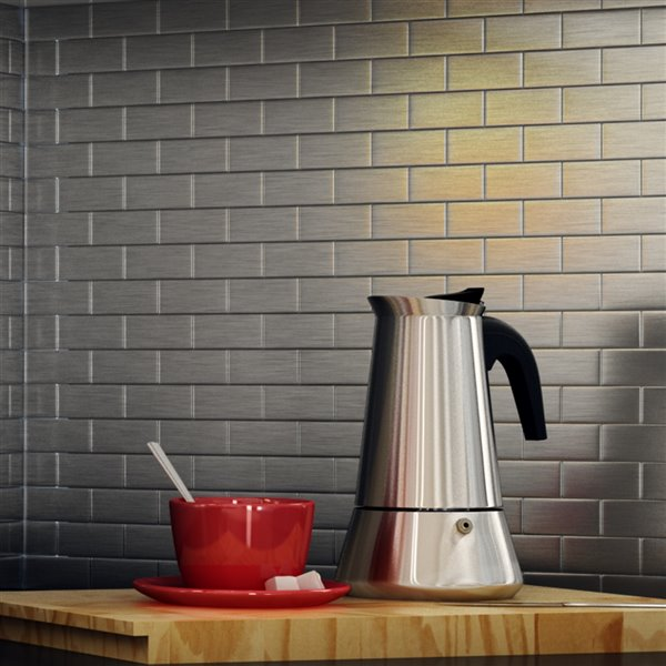 SpeedTiles 3X Faster Stainless Steel 4-in x 4-in Aluminum Brick Wall Tile – Tile Sample
