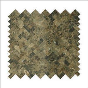 Tuile SpeedTiles 3X Faster pierre naturelle poliee lisse brun 12 po x 12 po chevron adhésif peler et coller, paquet de 6