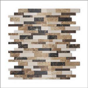 Échantillon de tuile murale 4 po x 4 po pierre naturelle beige et brun linéaire 3X Faster de SpeedTiles