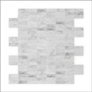 SpeedTiles 3X Faster White 12-in x 12-in Polished Natural Stone Marble Linear Adhesive Peel-and-Stick Tile – 6-Pack