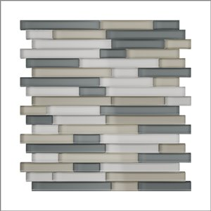 SpeedTiles 3X Faster Mixed Greys 4-in x 4-in Glass Linear Wall Tile – Tile Sample