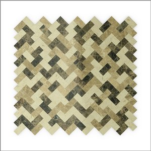 SpeedTiles 3X Faster Beige and Brown 12-in x 12-in Polished Natural Stone Marble Herringbone Peel-and-Stick Tile – 6-Pack
