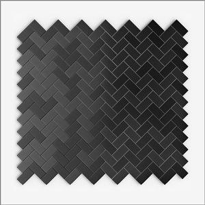 Tuile SpeedTiles 3X Faster aluminium brossé lisse acier inoxydable noir 12 po x 12 po chevron peler et coller, paquet de 6