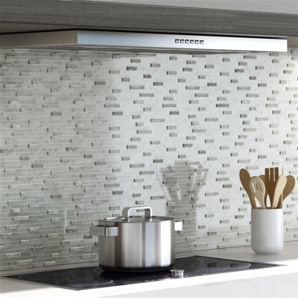 SpeedTiles 3X Faster White 4-in x 4-in Natural stone Linear Wall Tile Tile Sample