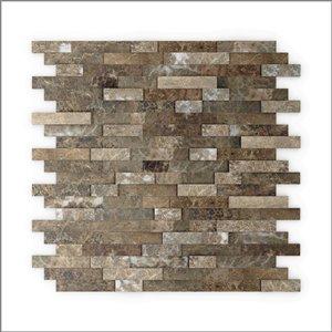 Tuile SpeedTiles 3X Faster pierre naturelle multifinition texturée brun 12 po x 12 po adhésif peler et coller, paquet de 6