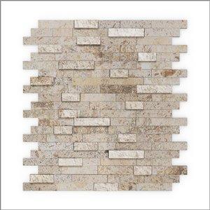 Échantillon de tuile murale 4 po x 4 po pierre naturelle beige linéaire 3X Faster, SpeedTiles