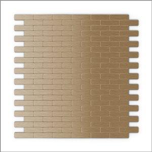 Tuile SpeedTiles 3X Faster aluminium brossé lisse cuivre pâle 12 po x 12 po brique adhésif peler et coller, paquet de 6