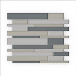 Tuile SpeedTiles 3X Faster verre lustré lisse gris mélangés 9 po x 11 po linéaire adhésif peler et coller, paquet de 6