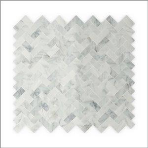 Tuile SpeedTiles 3X Faster pierre naturelle polie lisse Blanc 12 po x 12 po chevron adhésif peler et coller, paquet de 6