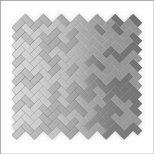 Tuile SpeedTiles 3X Faster aluminium brossé lisse acier inoxydable 12 po x 12 po chevron peler et coller, paquet de 6
