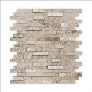 Tuile SpeedTiles 3X Faster pierre naturelle finition multiple texturée beige 12 po x 12 po peler et coller, paquet de 6