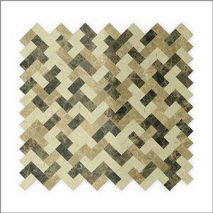 Échantillon de tuile murale 4 po x 4 po pierre naturelle beige et brun chevron 3X Faster de SpeedTiles
