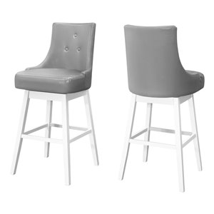 Monarch Specialties Upholstered Swivel Bar Stool, Grey, 2-Pack