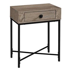 Table d'appoint rectangulaire en composite à 1 tiroir de Monarch Specialties, 22,5 po x 18,25 po, taupe foncé et noir