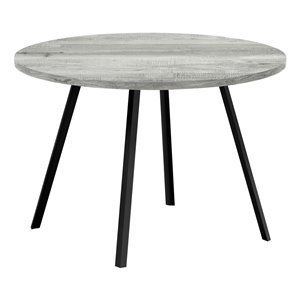 Monarch Specialties Round Fixed Standard Dining Table, Composite Top with Metal Base, Grey and Black