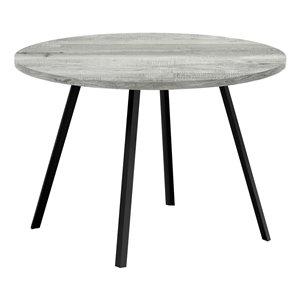 Table de salle à manger fixe ronde Standard de Monarch Specialties, surface en composite et base en métal, gris et noir
