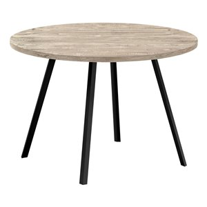 Monarch Specialties Round Fixed Standard Dining Table, Composite Top with Metal Base, Taupe and Black